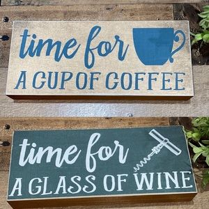 Wine coffee sign NWOT double sided great gift